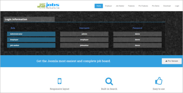 Minimal Job Board Joomla Theme