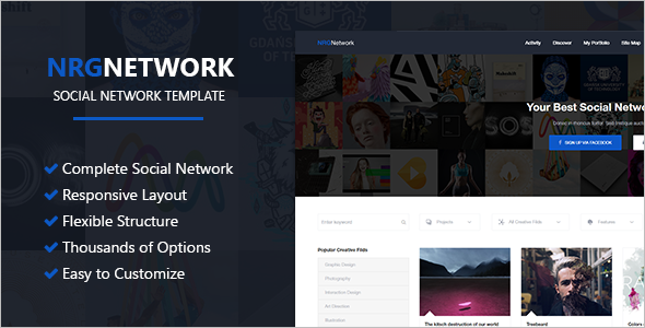 Responsive Social Media Website Template