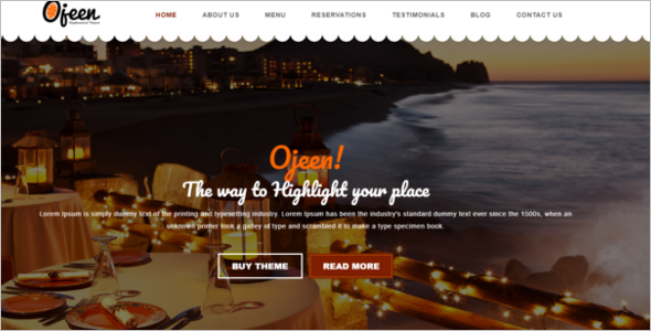Restaurant HTML Website Template