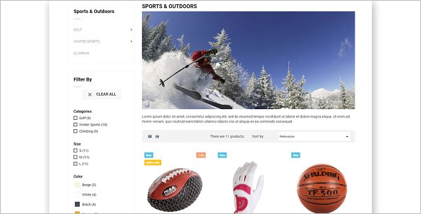 Sport Equipment Prestashop Theme