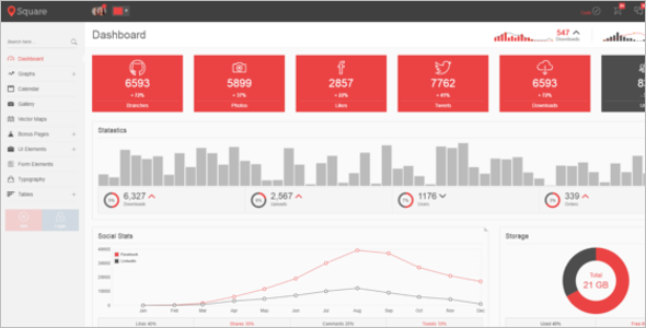 Square Admin Dashboard HTML Template