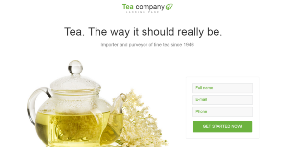 Tea Shop Landing Page Template