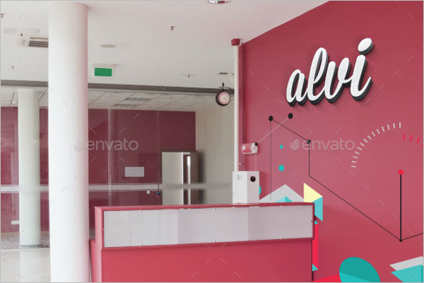 3D Office Wall Logo Mockup