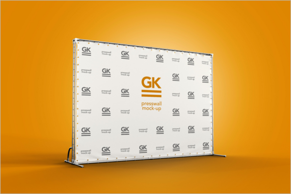 3D Press Wall Logo Mockup Template