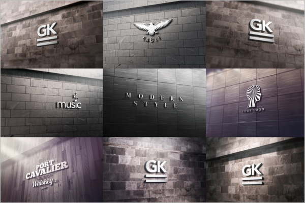 3D Wall Logo Bundle Mockup