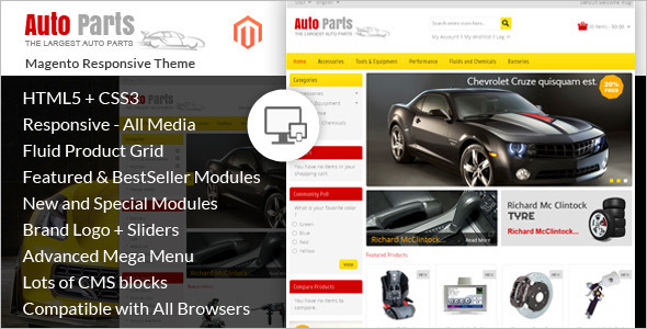 Auto Parts E-commerce Magento Theme