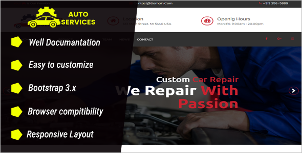 Automobile Website Design Template