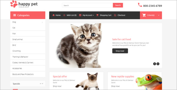 Beautiful Pet's OpenCart Theme