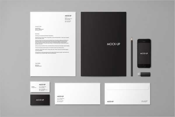 Black Stationery Mockup Template