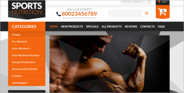 Bodybuilding Supplements Business ZenCart Template