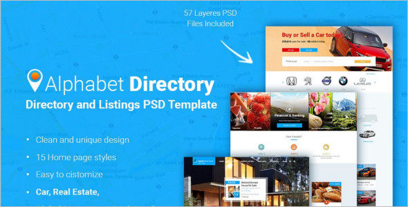Car Directory PSD Template