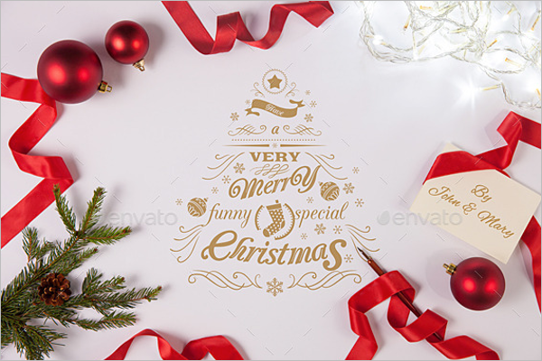Christmas Greetings Mockup Template