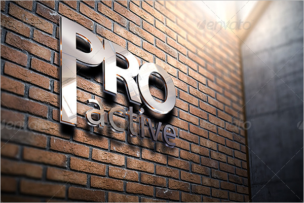 Corporate 3D Wall Logo Mockup