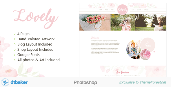 Floral Photoshop Blog Template