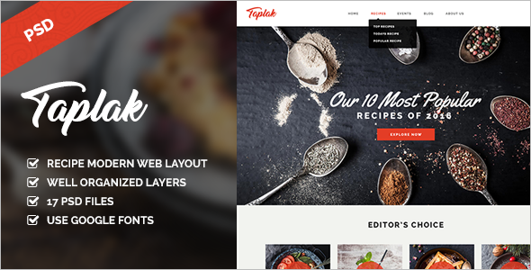 Food Recipe PSD Website Template