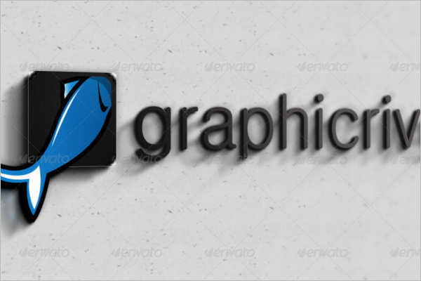 Graphical 3D Wall Logo Mockup Template