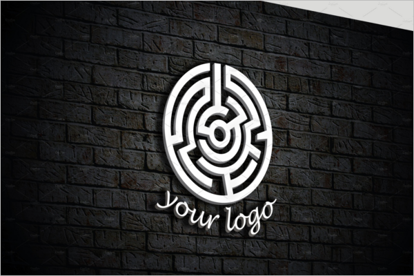 High Resolution 3D Wall Logo Mockup