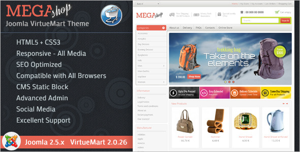 Joomla E-Commerce Virtuemart Template