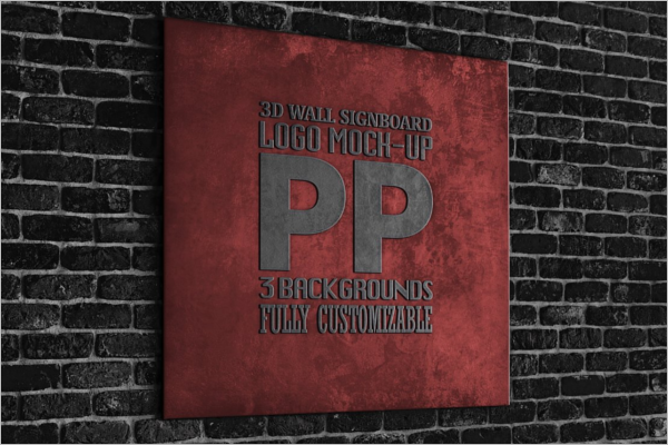 Latest 3D Wall Logo Mockup