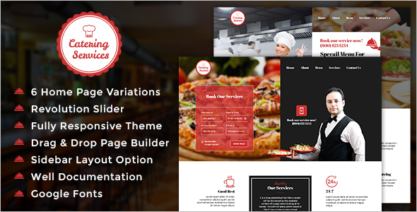 Minimal Catering Services Website Template