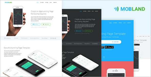 Mobile App Bootstrap Blog Template
