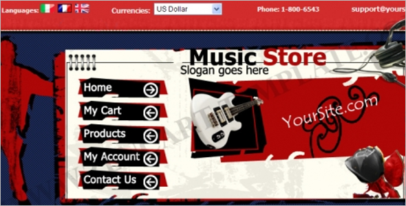 Music Zen Cart E-commerce Template