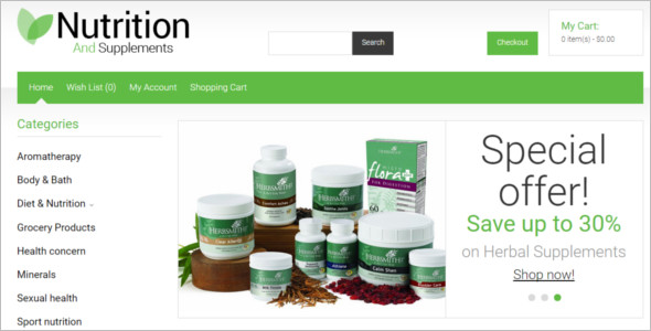 Nutrition Store OpenCart Template