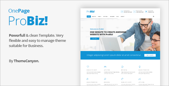 One Page Business Joomla Website Template