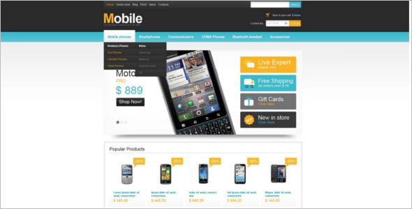 Online Mobile VirtueMart Theme