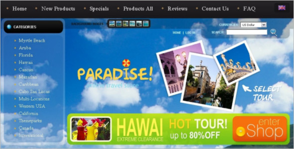 Online Zencart Travel Template