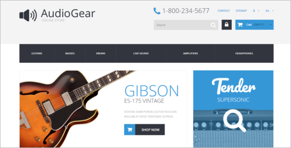 PrestaShop Music Equipment Theme