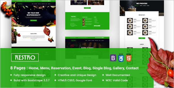 Reservation Website HTML 5 Theme