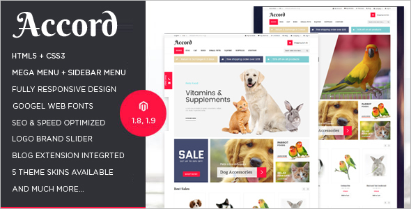 Responsive Pet store Magento Template