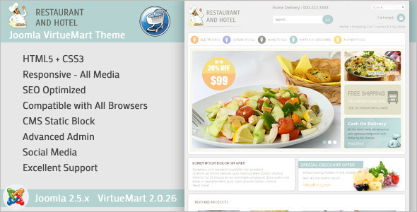 Restaurant Joomla Virtuemart Template