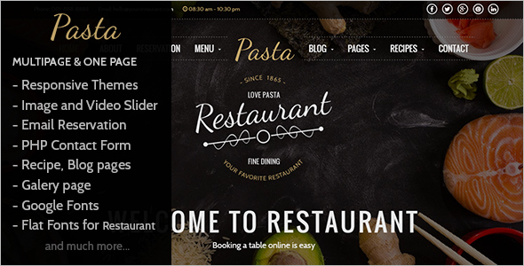Restaurant Menu Website Template