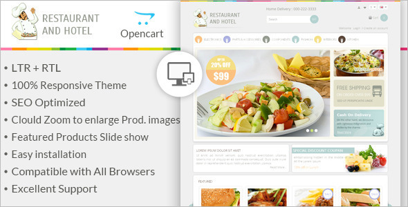 Restaurant OpenCart Design Template