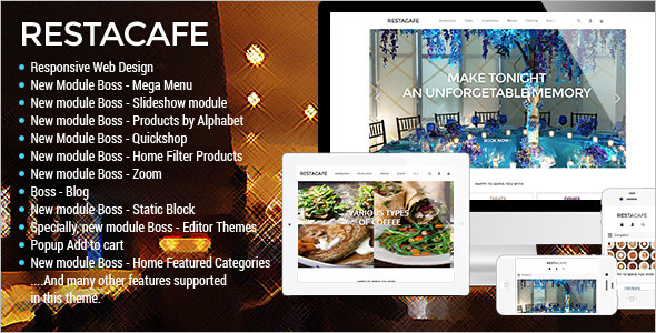 Restaurant OpenCart Template Model