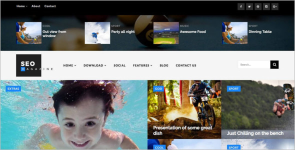 SEO Sports Magazine Blog Template