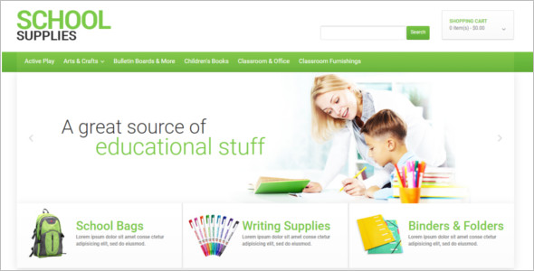 School Stationery E-commerce Template