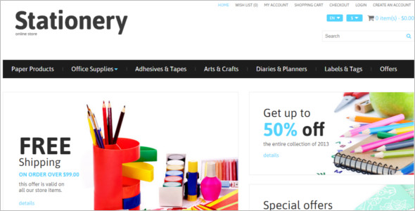 Stationery E-commerce Template Model