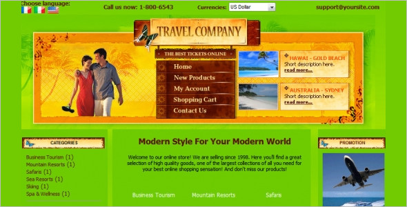 Travel Company Zencart Template
