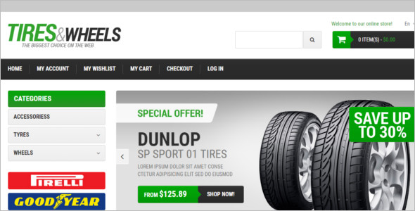 Wheels & Tires Auto Parts Magento Theme