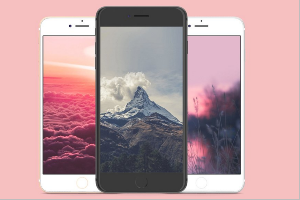 3 Colour iPhone Mockup Design