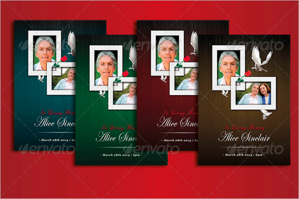A4 Funeral Program Brochure Template