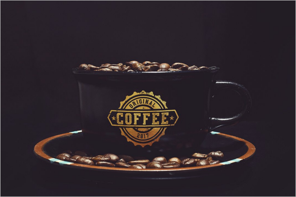 Black Coffee Cup Mockup