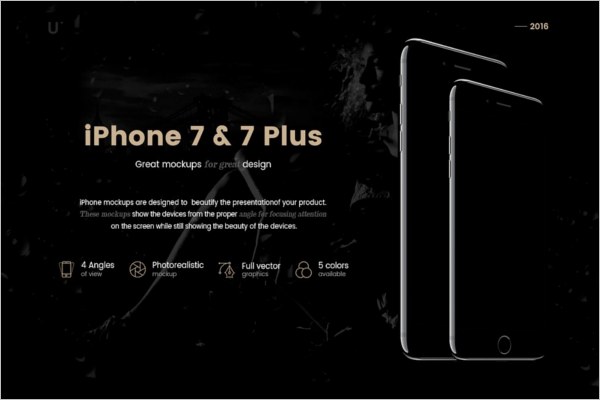 Black iPhone 7 Mockup PSD