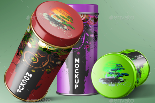 Colourful Can Mockup Template