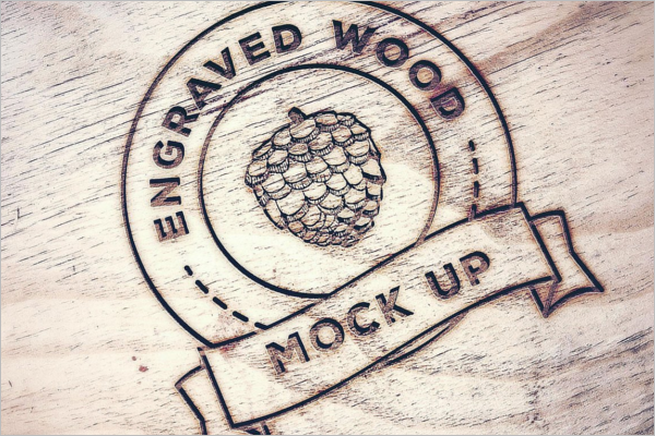 Engraved Wood Style Mockup Design