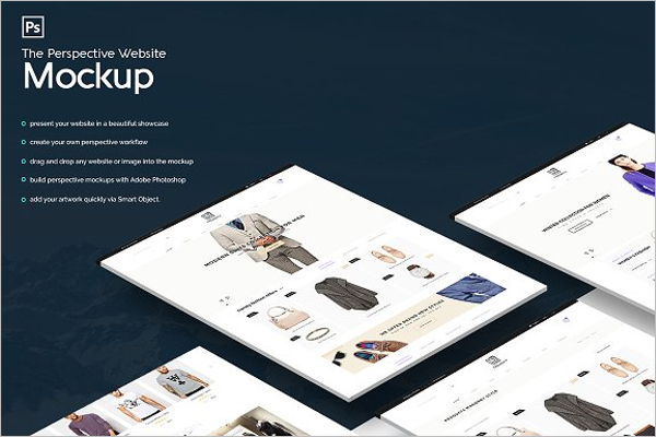 Flat Website Mockup Template
