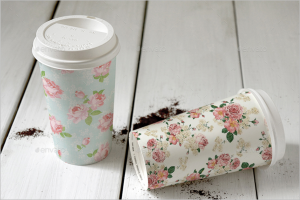 Floral Decorative Coffee Cup Mockup